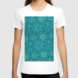 Turquoise and blue-green Jewish star pattern T-shirt