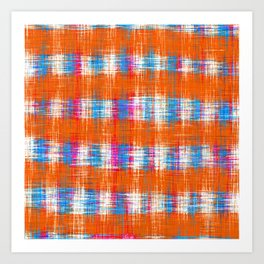 plaid pattern abstract texture in orange blue pink Art Print