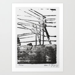 Lines, Black Art Print