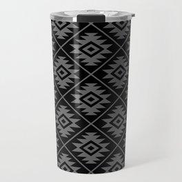 Aztec Symbol Pattern Gray on Black Travel Mug