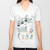 ski V-neck T-shirts featuring SKI LIFTS by BLUE VELVET DESIGNS