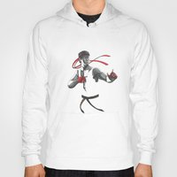 street fighter Hoodies featuring Ryu Street Fighter by Papan Seniman