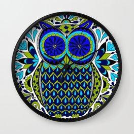 Blue Green Owl Mandala Wall Clock