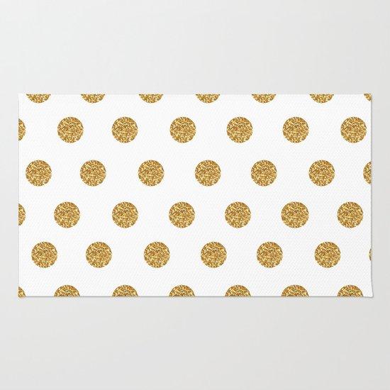 Gold Glitter Polka Dots Rug