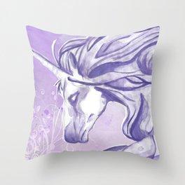 PURPLE UNICORN Throw Pillow