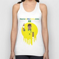 neymar Tank Tops featuring Neymar Brazil Illustration Print by Gary  Ralphs Illustrations