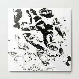 abstract paint strokes - black and white Metal Print