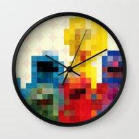 sesame street Wall Clocks featuring Sesame by Glen Gould