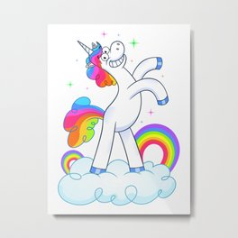 Unicorn Standing On A Cloud With Rainbows Metal Print