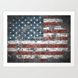 american flag on the brick Art Print