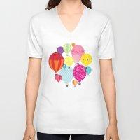 hot air balloons V-neck T-shirts featuring Hot air balloons by Tat Georgieva