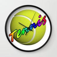 tennis Wall Clocks featuring Tennis by Jimbob1979