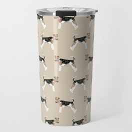 Wire Fox Terrier dog pattern dog lover gifts for dog person dog breeds pet friendly Travel Mug