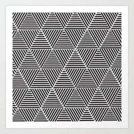 Black and White triangle pattern design Art Print