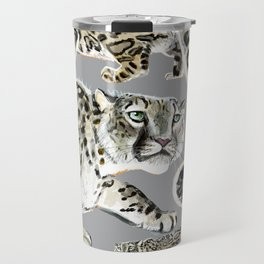 Snow leopard in grey Travel Mug