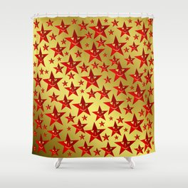 red, stars, face, laugh, smile, gold, pattern, colorful, christmas, motive, Shower Curtain