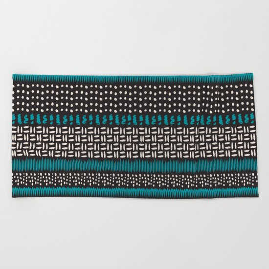 Dots, spots and zigzags pattern Beach Towel