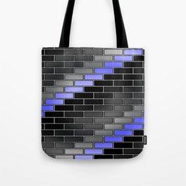 BRICK WALL #2 (Black, Grays & Light Blue) Tote Bag