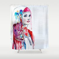 the national Shower Curtains featuring  Bulgarian national costume by Slaveika Aladjova