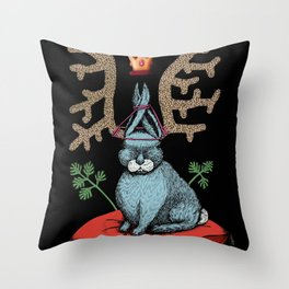 King of Fools 2 (Blue Rabbit) Throw Pillow