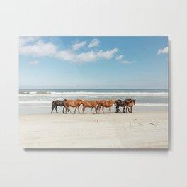 Beach Horses Metal Print