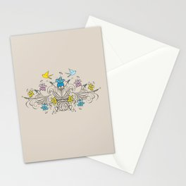 Shabby Chic vintage lily flowers bouquet and birds 1 Stationery Cards