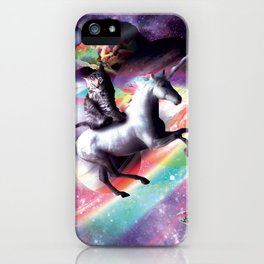 Space Cat Riding Unicorn - Laser, Tacos And Rainbow iPhone Case