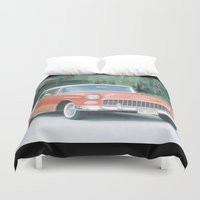 sports Duvet Covers featuring 1955 Chevrolet Sports Coupe by Just Art