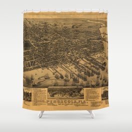 Aerial View of Pensacola, Florida (1885) Shower Curtain