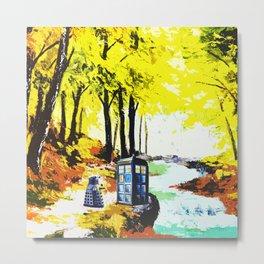 Tardis Art Speaking With Dalek Metal Print