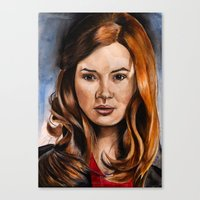 amy pond Canvas Prints featuring Amy Pond by Hannah D
