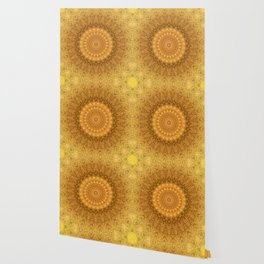 Sunflower Feather Bohemian Sun Ray Pattern \\ Aesthetic Vintage \\ Yellow Orange Color Scheme Wallpaper