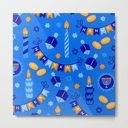 Happy Hanukkah Holiday Candles and Dreidels Pattern Metal Print