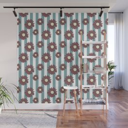 Echinacea Striped Floral Print Wall Mural