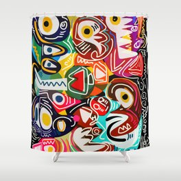 Life is beautiful street art graffiti Shower Curtain