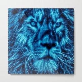 Lion Head Glowing Metal Print