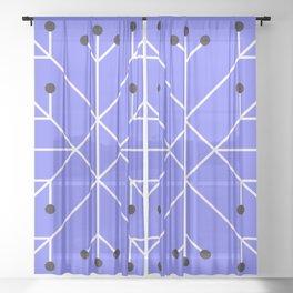 Mod Snowflake Purple Sheer Curtain