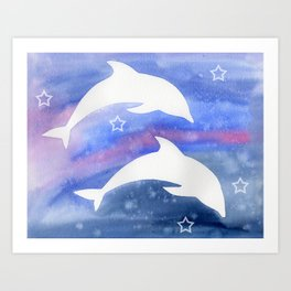 Dolphin Silhouette with watercolor background Art Print