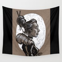 victorian Wall Tapestries featuring Victorian Profile_2 by David Miley
