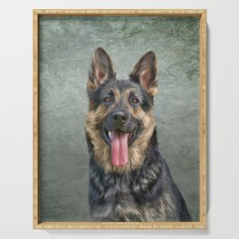 German Shepherd dog. Drawing, illustration funny dog Serving Tray