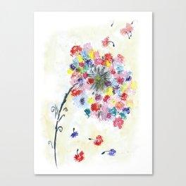 Dandelion watercolor illustration, rainbow colors, summer, free, painting Canvas Print