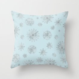 Assorted Silver Snowflakes On Light Blue Background Throw Pillow