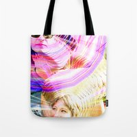 jenna kutcher Tote Bags featuring James and Jenna by Karl Doerrer-Attaway