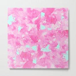 Modern trendy pink teal watercolor pattern Metal Print