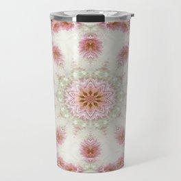 Pink Chrysanthemums Kaleidoscope Art 6 Travel Mug