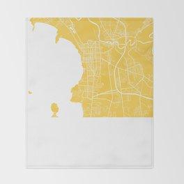 Burlington map yellow Throw Blanket