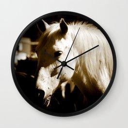 White Horse-Sepia Wall Clock