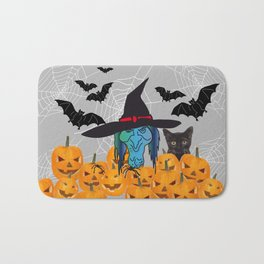 Witch bats pumpkin Halloween Bath Mat