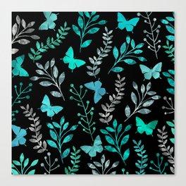 Watercolor flowers & butterflies IV Canvas Print