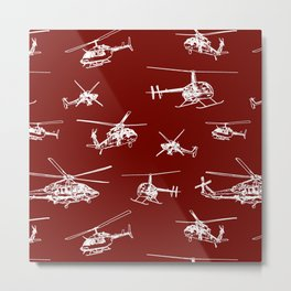 Helicopters on Maroon Metal Print